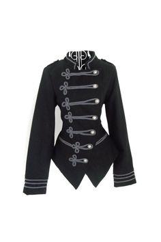 Vintage 1980s WOOL  black Gothic Military Napoleon jacket Steampunk Russian Renaissance Victorian black frock coat S UK 8 US 6. $79.00, via Etsy.