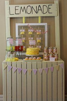 "Photo 6 of Lemonade Stand / Birthday ""DIY Lemonade and Sunshine"" Pink Lemonade Party, Lemon Party, Sunshine Birthday, Heart Party, 1st Birthday Parties, Birthday Ideas, Pig Birthday, Summer Birthday, Childrens Party"