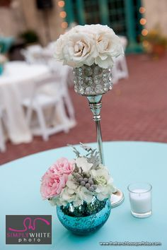 Vintage-Chic Centerpiece of Cream Roses in Tall Rhinestone Votive - The French Bouquet - Simply White Photo by Ace Cuervo