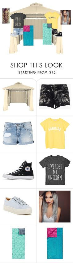 """""""Summer Camping with the sis."""" by cookie-doe-33 ❤ liked on Polyvore featuring Armani Jeans, MANGO, Converse, Marc Fisher LTD and 3C4G"""