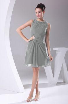 Platinum Hawaiian Column Sleeveless Zipper Chiffon Knee Length Evening Dresses