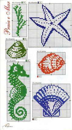 Cross stitch sea shells and sea horse: