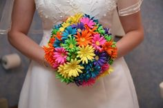True crazy daisy wedding flowers...I need to pick three colors to be my primary colors-- any input?v
