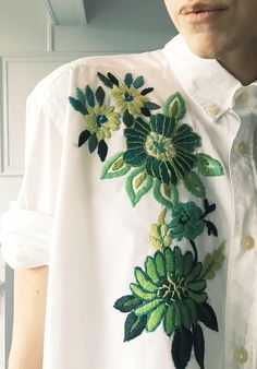 Hand Embroidered Shirt by Tessa Perlow on Etsy