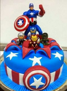 Toy on top exploding from top of cake. Action figure cake