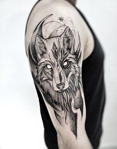 Fox Tattoo Men, Fox Tattoo Design, Wolf Tattoos Men, Sketch Tattoo Design, Badass Tattoos, Viking Tattoos, Tattoo Sketches, Tattoo Designs Men, Body Art Tattoos