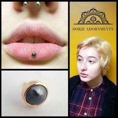 We love this gorgeous hematite and yellow gold end on an inverse vertical labret by @tomthepiercer