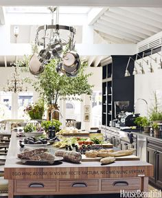 Showcased in the middle of Manhattan's Rockefeller Center, this farmhouse-style kitchen features dark cabinetry, high-tech appliances, and an extensive outdoor kitchen component. It came to life with help of chef Tyler Florence and designer Lori Yeomans.   - HouseBeautiful.com
