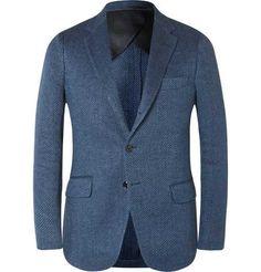 Mp Massimo Piombo - Blå Slim Fit Fiskbens Linne Kavaj Blå Kläder (030478)