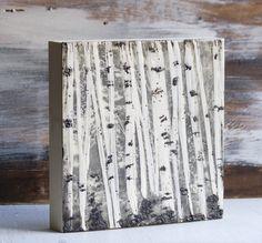 White TREES Encaustic Painting White Birch Trees by susannajarian, $120.00