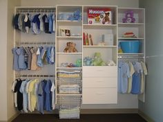 organized baby closet; I like the part that has the drawers