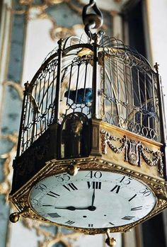 Steampunk birdcage with a clock face bottom