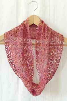 Knitting Pattern for Orangerie Cowl - This exquisite cowl is worked in an all-over pattern of interlacing lace stitches. The lightweight yarn and the openness of the lace give the cowl an airy and delicate quality. Designed by Skeinwalker Knits. Fingering weight yarn.