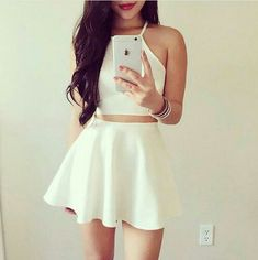 White Two Pieces Short Homecoming,Simple Homecoming Dresses,Cheap Prom
