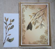 """Une carte """"branche dorée"""" avec enveloppe assortie. Composée avec de la peinture, du papier et cardon ondulé doré."""