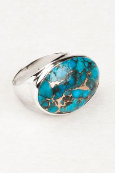 Oval Turquoise on Angled Band.  Beautiful silver jewellery at Tree of Life, Boho fashion desirables