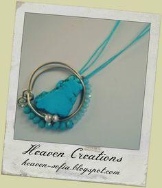 σύρμα αρζαντό, πέτρα τυρκουαζ και κρυσταλλάκια