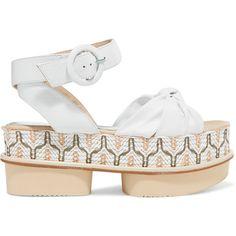 189c2e23ea12 Paloma Barceló - Rosita Leather And Woven Raffia Platform Sandals (9