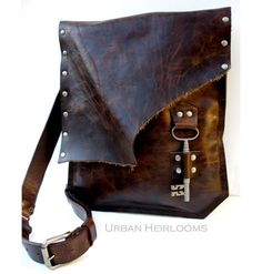 Brown Leather Messenger Bag with Antique Skeleton Key - Large MADE to ORDER - Rocker Biker Steampunk Goth