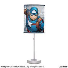 Avengers Classics | Captain America Runs Forward Table Lamp Marvel Cartoons, Table Lamp Shades, Incandescent Light Bulb, Rice Paper, Cartoon Kids, Captain America, Original Artwork, Avengers, Wall Art