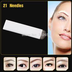 Free Shipping 100pcs Manual Microblading Eyebrow Tattoo U Shape 21 Needles For Permanent Makeup Eyebrow Tattoo Pen Tattoo Needles Tattoo & Body Art
