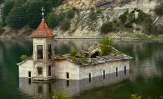 The half submerged church in Mavrovo, Marcedonia after colour saturation ~ Photo by...Djivo Djurovic© (photo2of2)