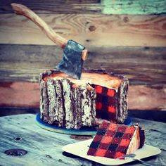 I'm a lumberjack and I'm OK I sleep all night and eat cake all day. This awesome Lumberjack Tree Trunk Cake, featuring an edible axe and red checked plaid cake, is the mouthwatering creation of. Fancy Cakes, Cute Cakes, Pretty Cakes, Beautiful Cakes, Amazing Cakes, Yummy Cakes, Lumberjack Cake, Lumberjack Wedding, Flannel Wedding