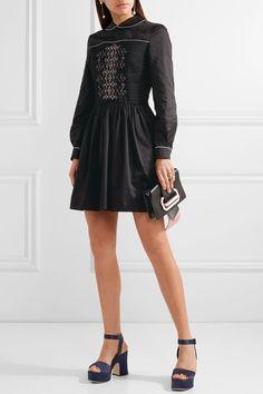 Miu Miu | Smocked embroidered cotton mini dress | NET-A-PORTER.COM