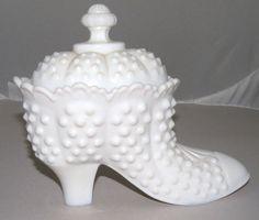Antique Milk Glass SHOE Hair Receiver
