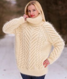 Cable knit sweater hand knitted thick mohair pullover fuzzy jumper by SuperTanya Mohair Yarn, Mohair Sweater, Thick Sweaters, Cable Knit Sweaters, Order Photos, Green Hats, Sweater Design, Hand Warmers, Hand Knitting