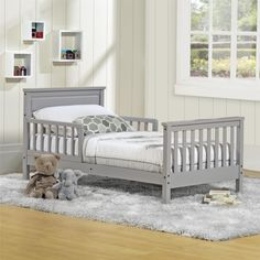 Make transitioning from a crib to a toddler bed simple and easy with the Baby Relax Haven Toddler Bed. Finished in a neutral grey, the beautiful wood construction and style will withstand years of use.