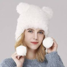 b4aaf6726b4 Cospaly cat ears rabbit fur hat for women winter hats with ear flap