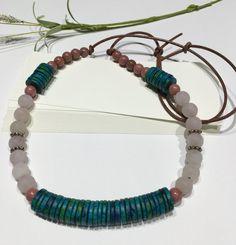 Long Boho Necklace-Beaded Leather by HoneysuckleJewelscom on Etsy