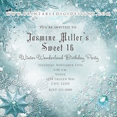 Frozen Magical Snowflakes Winter Wonderland Invitation