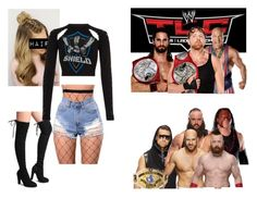 """""""Ringside for Dean Ambrose, Seth Rollins and Kurt Angle VS. Braun Strowman, Kane, Sheamus, Cesaro and The Miz in a 5 on 3 Handicap match at TLC."""" by bossjamie21 ❤ liked on Polyvore featuring WWE, Braun, Kane, WithChic and River Island"""