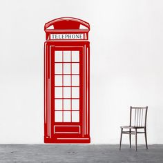 London Phone Box Vinyl Wall Sticker, British, Wall Sticker, Wall Decal, Wall Art, Engagement Gift, Fashion Art, Home Decor, Bedroom Decor,