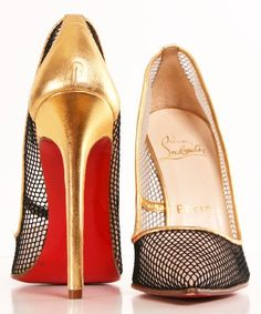 #gold # shoes #redbottom #black #fishnet