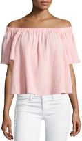 Rebecca Taylor Boxy Off-the-Shoulder Cotton Top, Malibu Peach Crop Top And Shorts, Pink Crop Top, Pink Tops, Crop Tops, Peach Top, Taylor S, Rebecca Taylor, Cotton Crop Top, Flowing Dresses