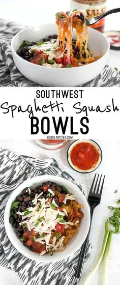 Spaghetti squash makes a great fiber-filled low-carb substitute for rice in these Southwest Spaghetti Squash Bowls. @budgetbytes