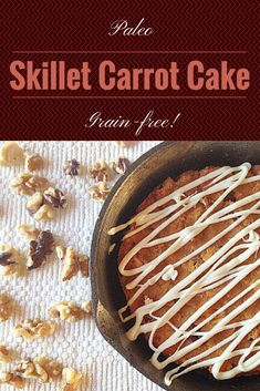 #paleo Skillet Carrot Cake!  #healthy and filling enough for breakfast, and decadent enough for a #guiltfree dessert!  #grainfree #vegan