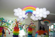Rainbow and cloud balloons.