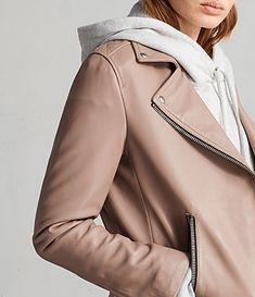 84aca74ad18b8 Womens Dalby Leather Biker Jacket (BLUSH PINK) - Image 2 Pink Images