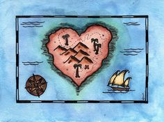 Heart's Treasure Map / 5 x 7 Original Watercolor by paintandink  Cartographic Art by Alison Murray Whittington #mapart #paintandink #treasuremap #nautical #nauticalart #pirate #pirateart #cartographicart #sailingart #heartart #heart #love #romanticart