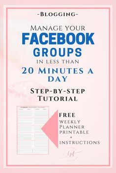 Manage your Facebook groups in less thank 20 minutes a day with this FREE 11 Page step-by-step Tutorial and a FREE Facebook Group Weekly Planner printable with instructions. This is the social media strategy I use to optimize time management and improve engagement and blog traffic .:)