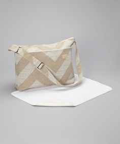 Take a look at this Sand Denton Zigzag Diaper Bag & Changing Pad by Foxy Vida on #zulily today!