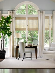 20 Ideas Home Office Window Treatments Drapery Panels For 2019 My Living Room, Home And Living, Arched Window Treatments, Woven Wood Shades, South Shore Decorating, Relax, Drapery Panels, Beautiful Homes, New Homes