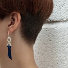 Link & Pennant Drop Earrings - sterling silver and ribbon