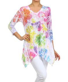 White & Pink Floral V-Neck Handkerchief Tunic #zulily #zulilyfinds