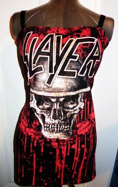 Ladies handmade DIY heavy metal band shirt mini dress SLAYER!! Custom made just for you! Come get it while it lasts!