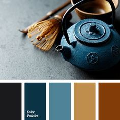 almost black azure gray blue indigo bronze clay color color matching for designer color of ginger biscuits color of Prussian blue color of tree greenish-blue honey color saturated blue shades of reddish-brown smoky blue. Blue Colour Palette, Blue Color Schemes, Color Combos, Color Yellow, Color Harmony, Color Balance, Decoration Palette, Colour Board, Bedroom Colors